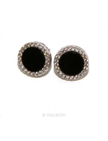 Argento 925 : coppia di orecchini 10mm uomo donna bottone cerchio nero pavè zirconi