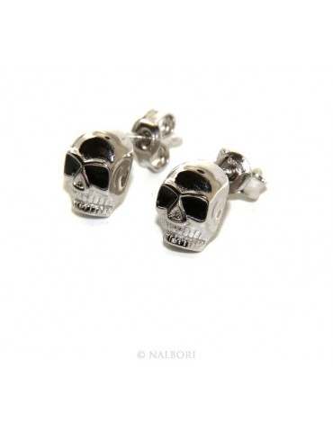 Stamped 925 silver : earrings casting small woman Man skulls