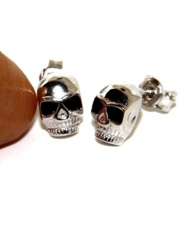 Argento 925 : coppia di orecchini microfusione piccoli teschi uomo donna