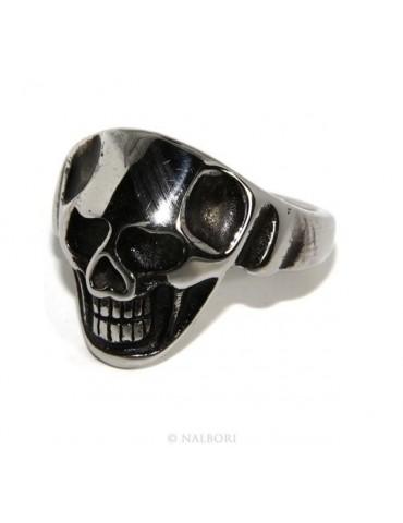 Acciaio Anallergico inossidabile : anello uomo donna teschio skull 3D brunito