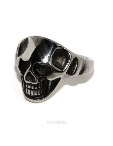 Hypoallergenic stainless steel: ring man woman skull skull 3D burnished