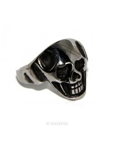 Hypoallergenic stainless steel: ring man woman skull skull 3D burnished