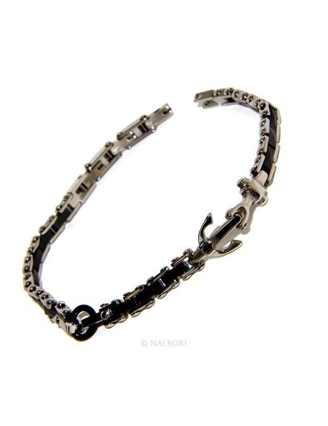 Bracelet man woman hypoallergenic steel black ceramic zircon yet