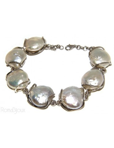925: Women's Bracelet mega baroque natural pearls scaramazze