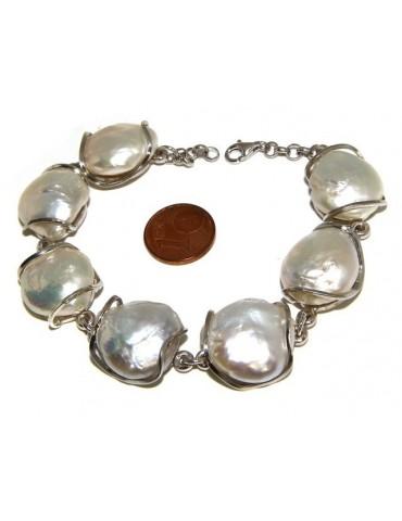 925: Women's Bracelet mega baroque natural pearls scaramazze
