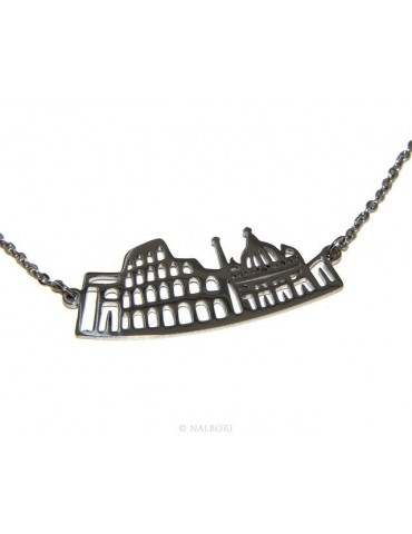 Steel: Exclusive necklace forzatina city skyline souvenirs of Italy Rome