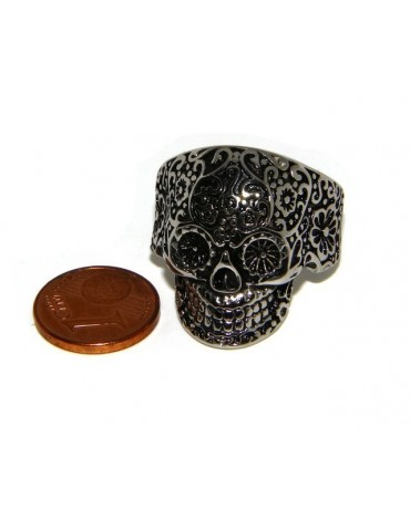 Hypoallergenic stainless steel: Mexican skull ring man woman skull 3D burnished