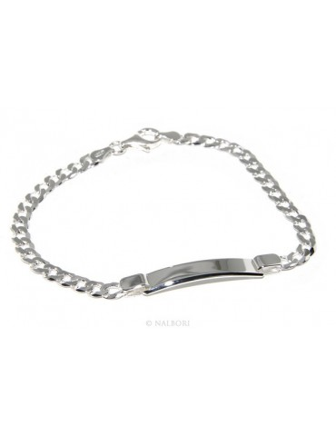 SILVER 925 clear, massive bracelet man woman gourmette 5 mm with plate 19,50 cm