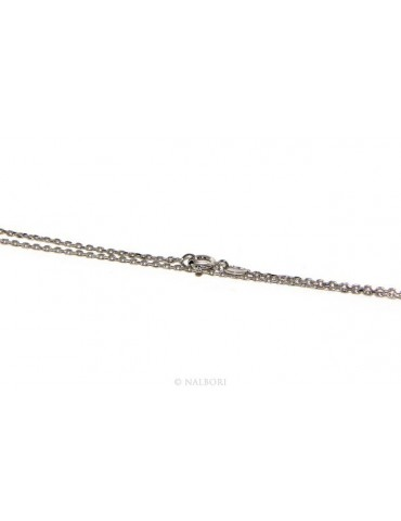 Choker necklace forzatina Diamond coated 1mm SILVER 925 Rhodium. 45 or 50 cm for men and women