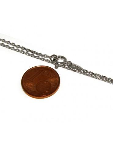 Girocollo catenina forzatina Diamantata 1mm ARGENTO 925 rodiato. cm 45 o 50 per uomo e donna