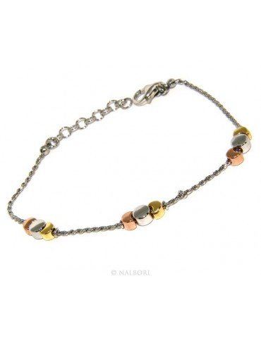925: woman bracelet with rope drive and moons rhodium-plated white gold pink yellow 3 colors.