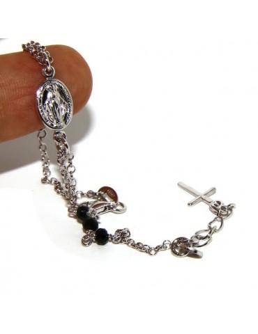 Bracciale rosario uomo donna in Argento 925 madonna miracolosa , croce e cristallo nero 16,00 18,50 cm