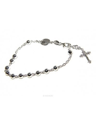 Rosary bracelet male female 925 sterling silver cross worked 18-19 cm balls 5 mm clear