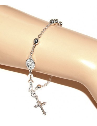 Rosary bracelet male female 925 sterling silver cross worked 18-19 cm balls 5 mm clear