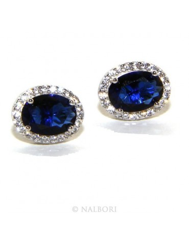 925: woman stud earrings oval button stone cubic zirconia blue cornflower blue sapphire 10x8