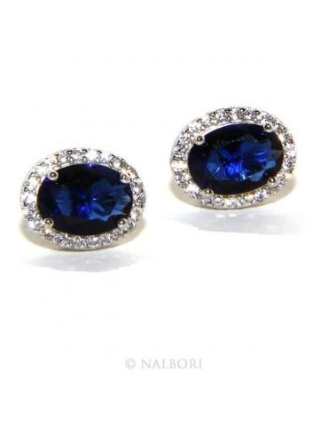 Argento 925 : orecchini donna stud bottone oval pietra zirconia cubica blue sapphire bluette 10x8