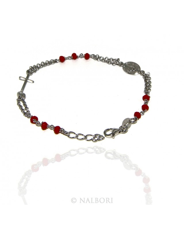 Rosary bracelet male female 925 madonna, cross and red crystal 16.00 18.50 cm