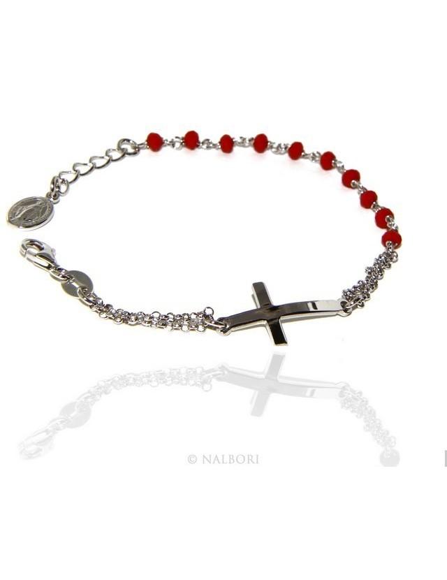 Bracciale rosario uomo donna in Argento 925 madonna , croce curva e cristallo rosso 15,00 17,50 cm