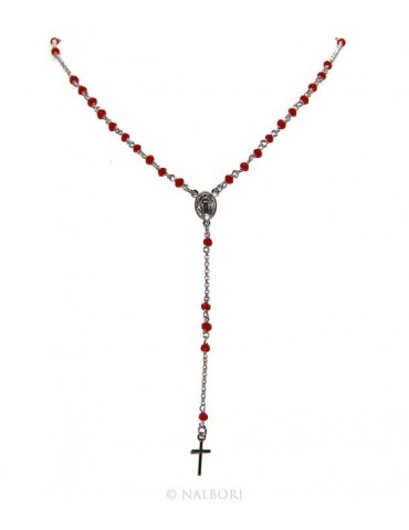 Rosary necklace man 925 With red crystal 3.5mm cross and madonna 51 + 5