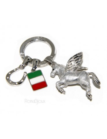 Keyrings man or woman KeyRing Pegaso horseshoe fired enamel handmade, all 925 22.4 gr - amulet