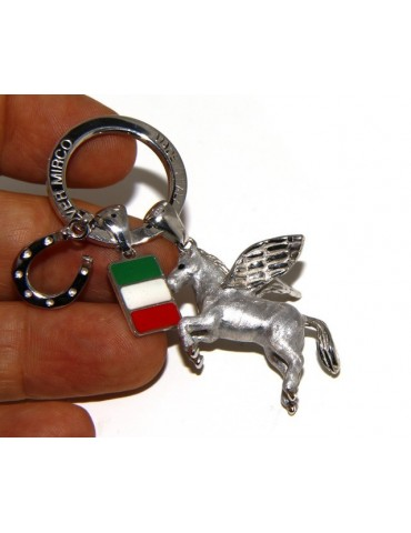 Keyrings man or woman KeyRing Pegaso horseshoe fired enamel handmade, all 925 22.4 gr - amulet