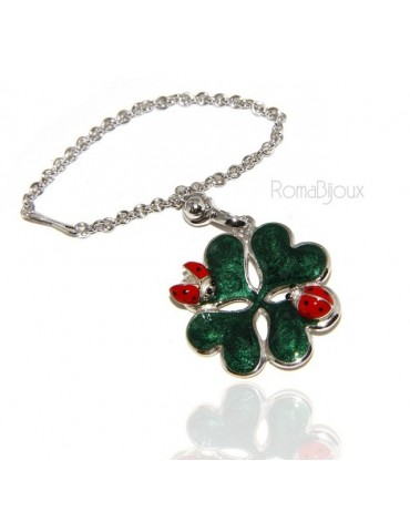 Key ring or pendant charm woman bag Key ring door keys and four-leaf clover 925 silver ladybug massive