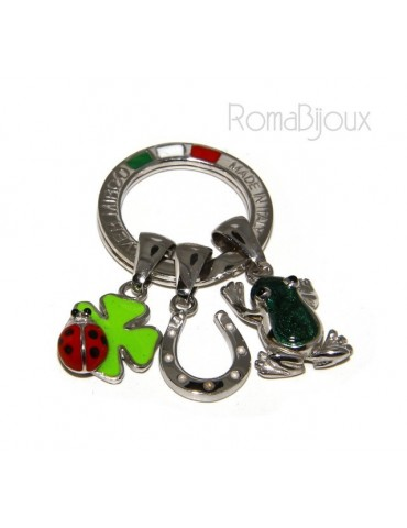 Keyrings man or woman  ucky charm horseshoe cloverleaf frog ladybug fired enamel handmade, all 925