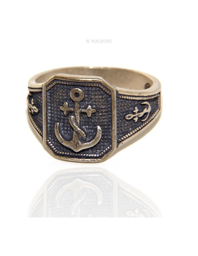 Ring Silver 925 Rectangular antique blue shield man, anchor anchors