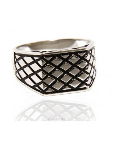 Ring Silver 925 Men's rectangular shield diamond pattern black ribbed