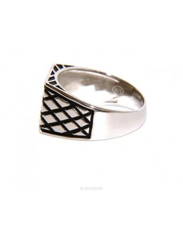 Anello Argento 925 da uomo scudo rettangolare rombi rigato nero