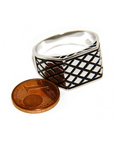Ring Silver 925 Men's rectangular shield diamond pattern black ribbed