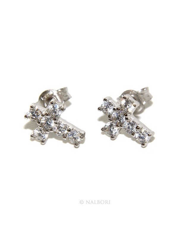 925: earrings men / women cross stitch light pave zircon White