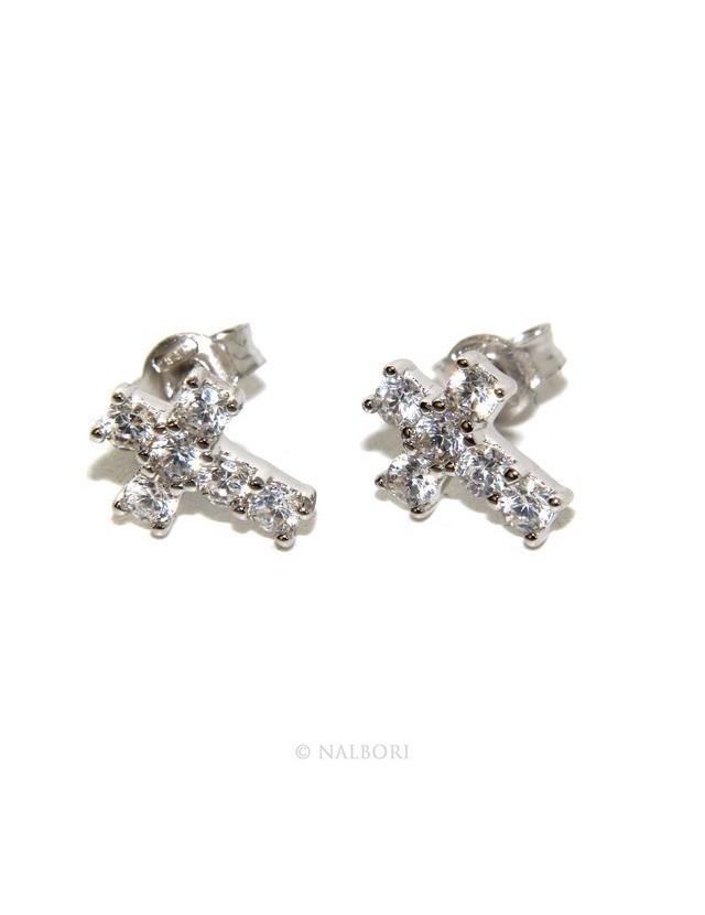 Argento 925 : orecchini uomo/donna punto luce croce pavè zircone bianco