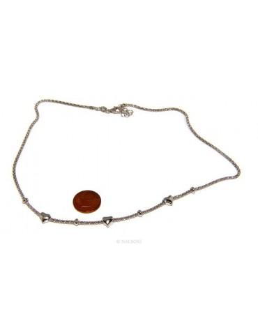 Argento 925 : Collana donna pop corn con cuore cuori e rondelle 43-45 cm