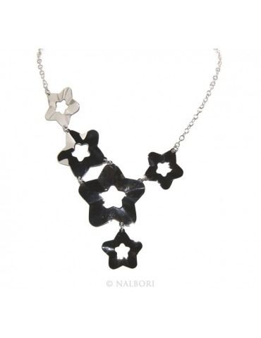 925: Women's Necklace with a shower of stars asymmetrical 45 cm adjustable
