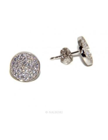 Argento 925 : coppia di orecchini 9,5mm uomo donna bottone pavè zirconi mircosetting tondo