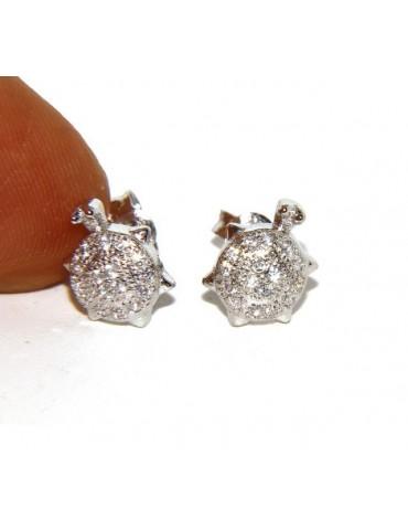 Argento 925 : coppia di orecchini donna tartaruga pavè zirconi mircosetting