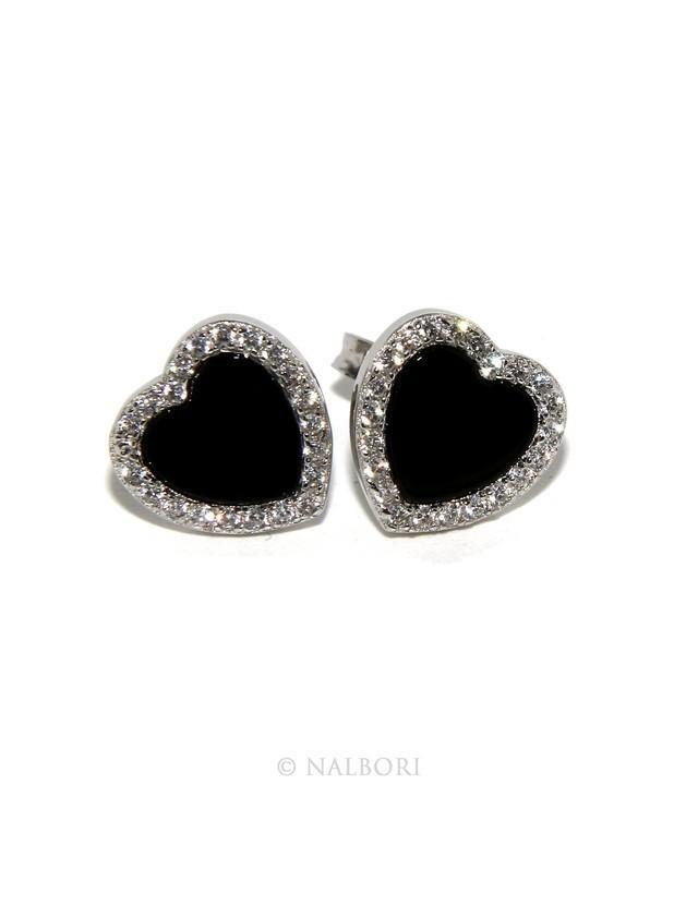 Argento 925 : coppia di orecchini 10mm donna bottone cuore onice cerchio nero pavè zirconi