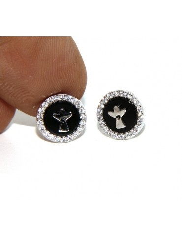 925: pair of earrings 10mm black onyx circle man woman button zirconia and angel