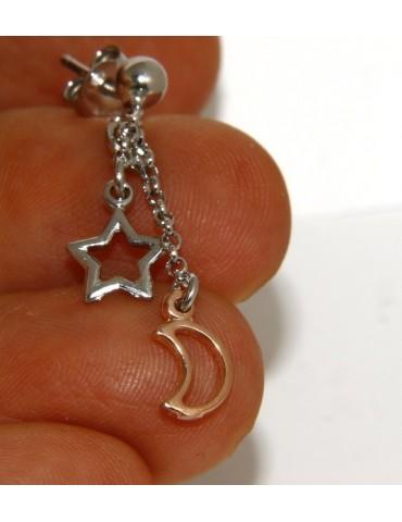 Argento 925 : orecchini pendenti con catena rolo' pallina ciondolo stella luna rosè