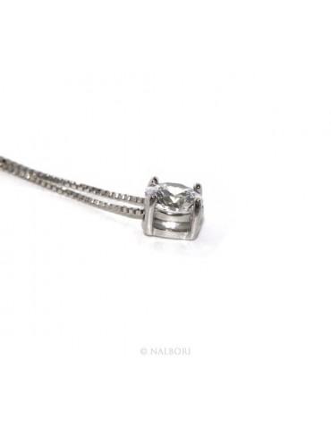 Argento 925 : Collana Collier donna pendente passante punto luce griffe 6 mm