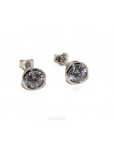 925: Earrings cipollino 6 mm light point with zircon. for men and women