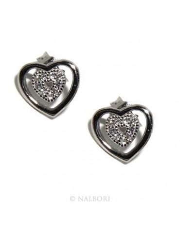 Argento 925 : orecchini donna punto luce doppio cuore pavè zircone bianco