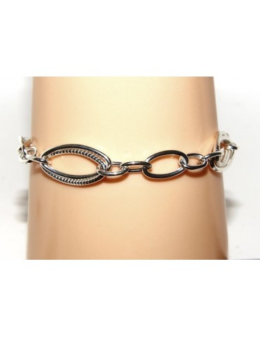 Woman bracelet in 925 sterling silver rhodium not, oval Glazed and smooth 18,50 cm