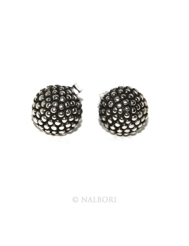 Argento 925 : coppia di orecchini uomo donna mezza sfera borchiati lavorazione tipo sarda 8mm