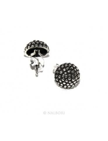 925: pair of man half sphere woman earrings studded processing Sardinian type 8mm