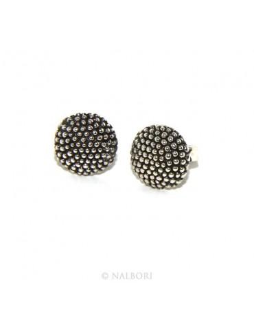 Argento 925 : coppia di orecchini uomo donna mezza sfera borchiati lavorazione tipo sarda 10mm