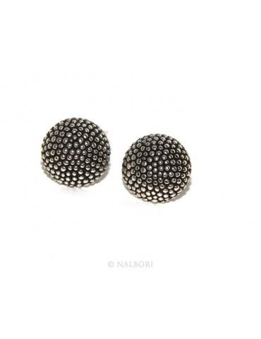 Argento 925 : coppia di orecchini uomo donna mezza sfera borchiati lavorazione tipo sarda 12mm