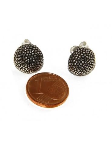 925: pair of man half sphere woman earrings studded processing Sardinian type 12