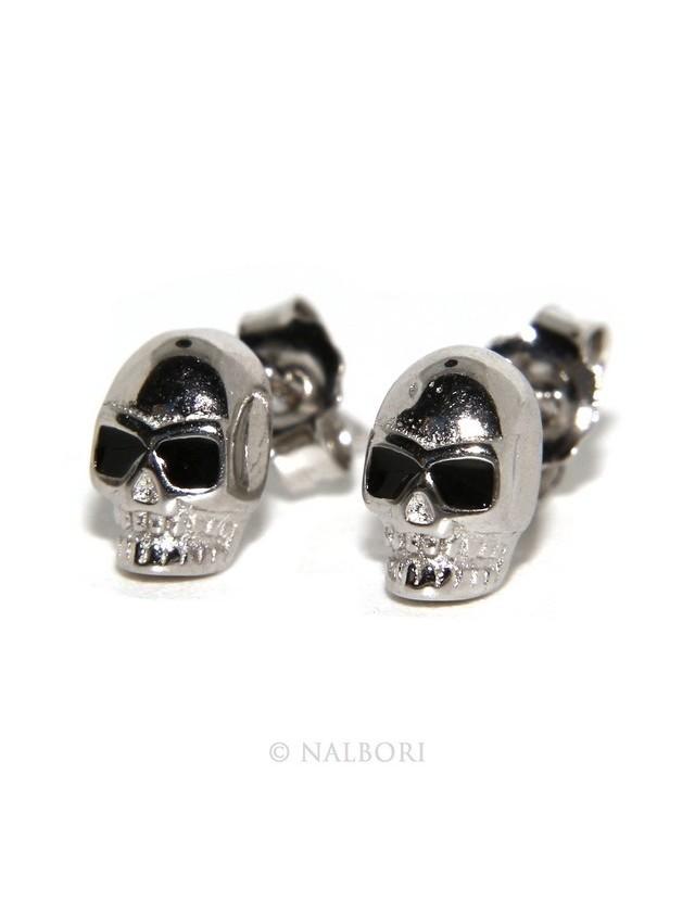 925: pair of tiny woman Man skulls casting earrings